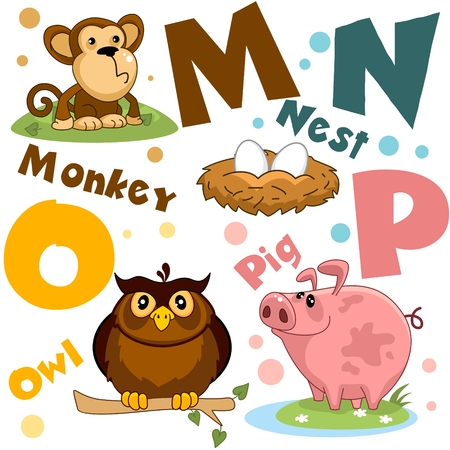 Letters from the English alphabet. For the education of children. Animal characters: monkey, owl, nest with eggs, pig.
