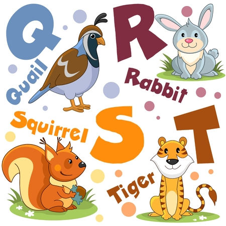 Letters from the English alphabet. For animals and birds of quail, hare, rabbit, squirrel with a nut and a tiger.