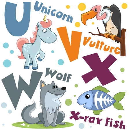 Letters from the English alphabet. For the education of children. Animal characters are wolf, rengen fish, bird vulture and unicorn.