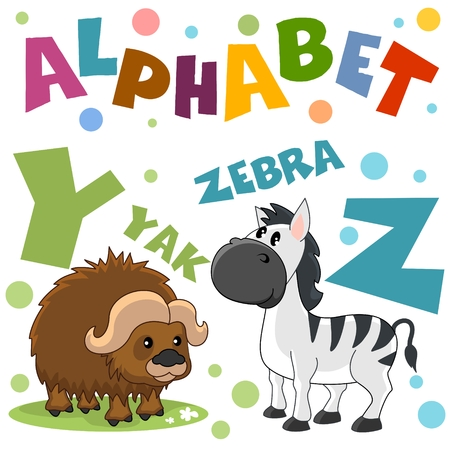 Letters from the English alphabet. For the education of children. Characters animals zebra and yak.