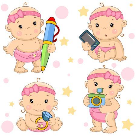 Eine Reihe von schönen kleinen Mädchensymbolen für Kinder für Kinder und Design, das Mädchen schreibt mit einem Stift, das Baby hält ein Telefon, ein Smartphone, einen Computer in den Händen, sitzt mit einem kostbaren Ring und einem Diamanten in den Händen, steht mit einer Kamera