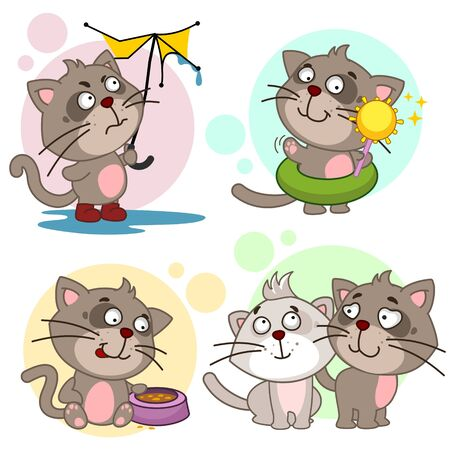 A set of cartoon illustration icons for design and children with cats, a cat with a broken umbrella in the rain, a cat on the beach with the sun, with a bowl of food and two cats in love.