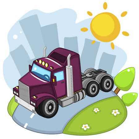 A beautiful illustration for children to study transport or design, truck tractor purple, rides through the city.