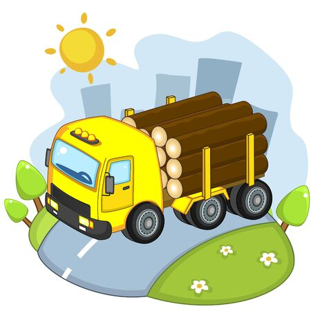 A beautiful illustration for children to study transport or design, truck carrying logs for construction. Stock Illustratie