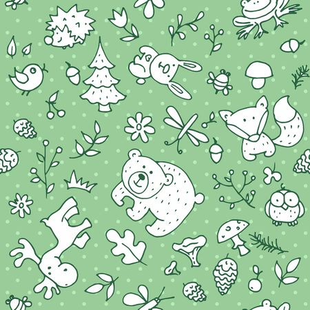 Seamless forest kids pattern for kids and design. With the image of a bear, rabbit, fox, butterfly, dragonfly, frog, owl, hedgehog, trees, mushrooms and berries.