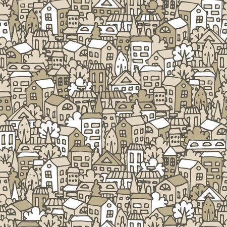 Seamless cartoon pattern for design with a picture of the city, houses and trees.