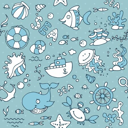Seamless nautical children's pattern for children and design. With the image of fish, whale, crab, shells, ship, anchor, rudder of the ship, starfish and algae. Vectores
