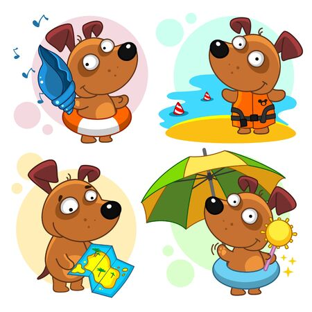 Set of children's illustrations for children and design. The dog is traveling. Where do you want to travel? Vectores