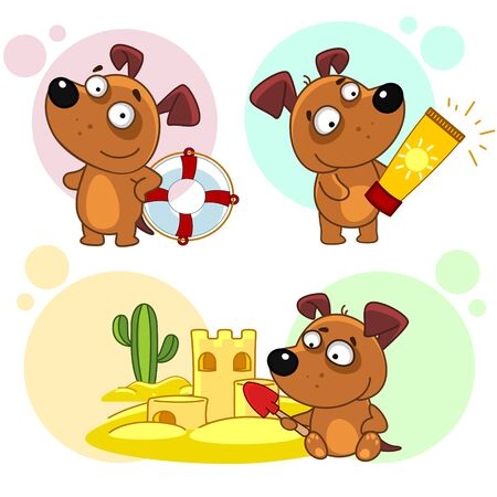 Set of children's illustrations for children and design. A dog with a sunblock for a sunburn for life Vectores