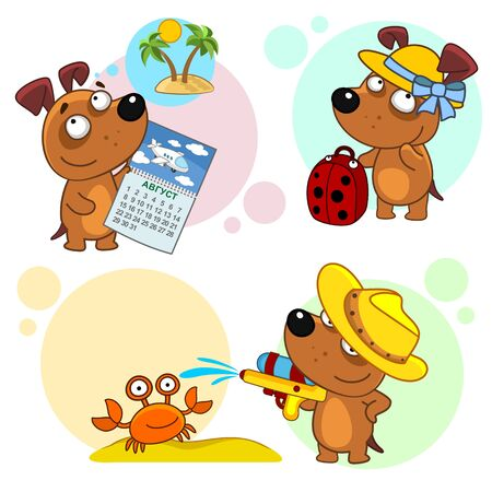 Set of children's illustrations for children and design. Travel dog with a suitcase, shoots a crab from a water pistol.