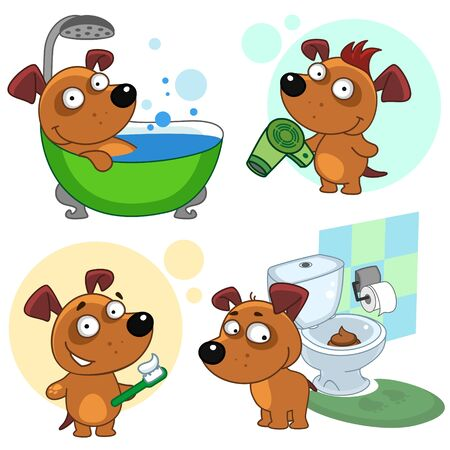 Set of children's illustrations for children and design. The dog washes in the shower, stands with a hairdryer and hair dries, cleans teeth, shit in the toilet. Vectores