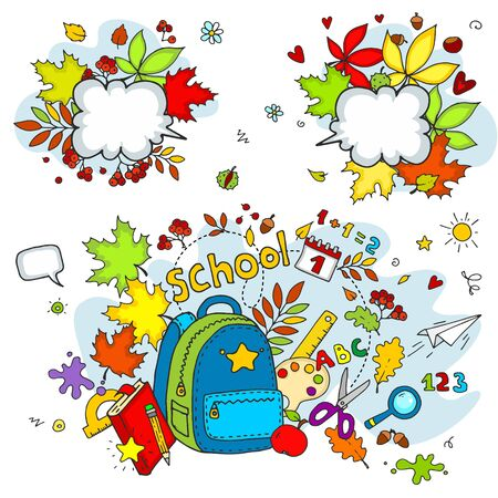 Set of collection objects for the design of cards. School subjects Backpack, clock, bell, leaves, pencils, inscriptions, ruler, globe for children and schoolchildren. Vectores