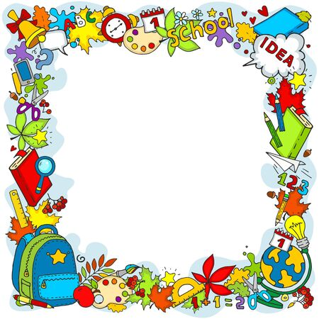 Frame of objects for the design of cards. School subjects Backpack, clock, bell, leaves, pencils, inscriptions, ruler, globe for children and schoolchildren.