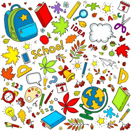 Set of objects for design. School subjects Backpack, clock, bell, leaves, pencils, inscriptions, ruler, globe for children and schoolchildren.