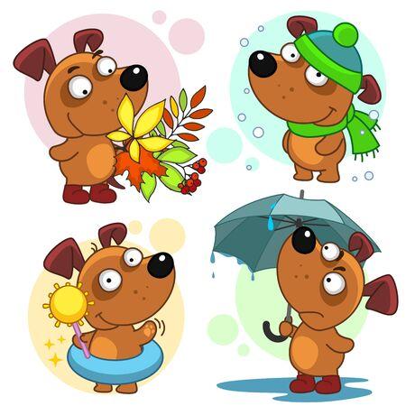 Serie di illustrazioni con cani. Stagioni estate inverno, primavera e autunno. Un cane sotto un ombrellone e un mazzo di foglie autunnali.