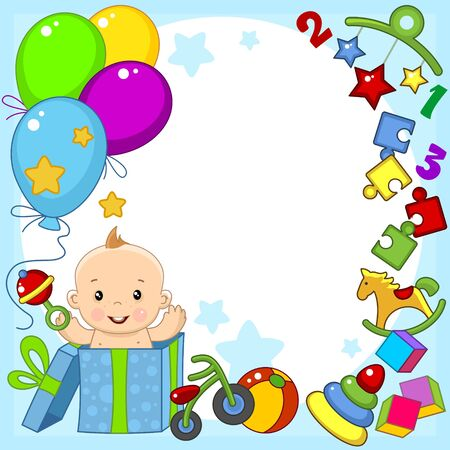 Greeting card template for happy birthday greetings. For a little baby boy. Image of balls, toys, gift, pyramid and puzzle. Vectores