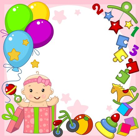 Greeting card template for happy birthday greetings. For a little baby girl. Image of balls, toys, gift, pyramid and puzzle. Vectores