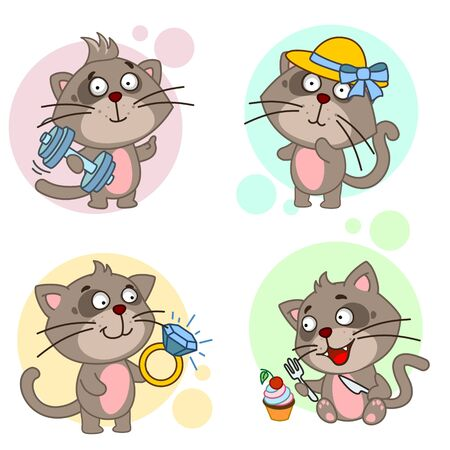 A set of cute cats icons for children and design, a cat plays sports with dumbbells, in a cute hat with a bow, holds a large diamond ring, a kitten with a fork and knife wants to eat with a cupcake. Vectores