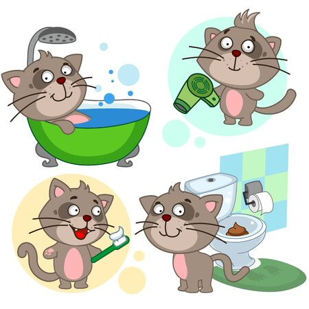 Set of children's illustrations or icon for children and design. The cat washes in the shower in the bathroom, stands with a hairdryer and dries hair, cleans teeth, shit in the toilet. Vectores