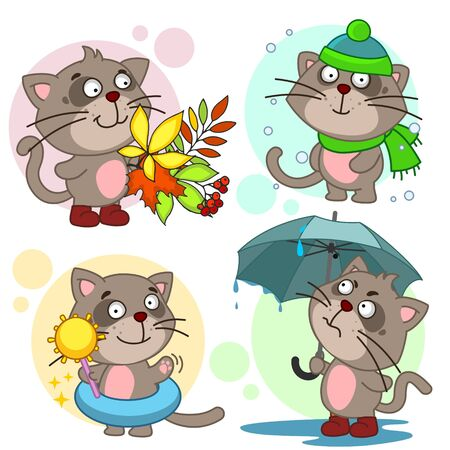 Set of illustrations with cats. Seasons summer winter, spring and autumn. A cats under an umbrella, in a hat and scarf, with a bouquet of autumn leaves. Vectores