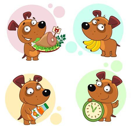Set of dogs icons for design. Dogs and their mode and food. Puppy with bananas, meat, juice and a clock. Vectores