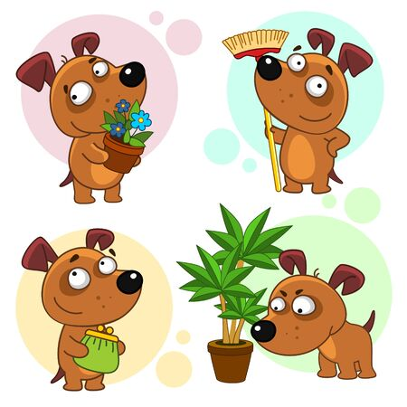 Set of dog characters. The dog stands with a potted flower, with a mop, about to clean, with a wallet. Illustration