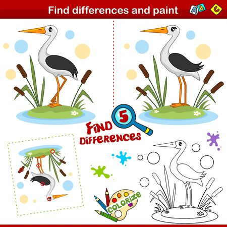 Set for children. Find five differences and color. A stork bird stands in the reeds.