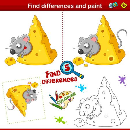 Set for children. Find five differences and color. A hungry mouse sits in cheese and reaches for a piece of cheese.