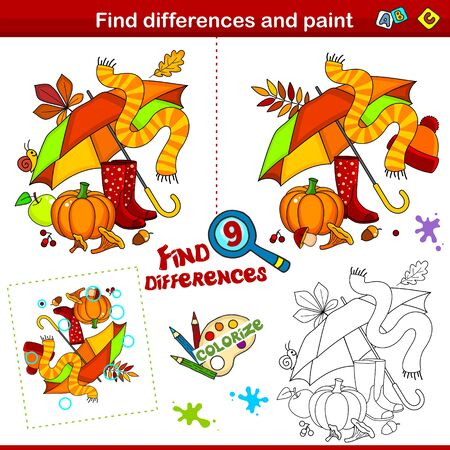 Set for children. Find nine differences and color. Autumn picture with leaves, umbrella and mushrooms.