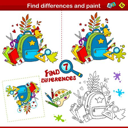 Set for children and schoolchildren. Find the difference in the picture and color it. Image of autumn theme. A backpack with books and pencils, a bell and autumn leaves.