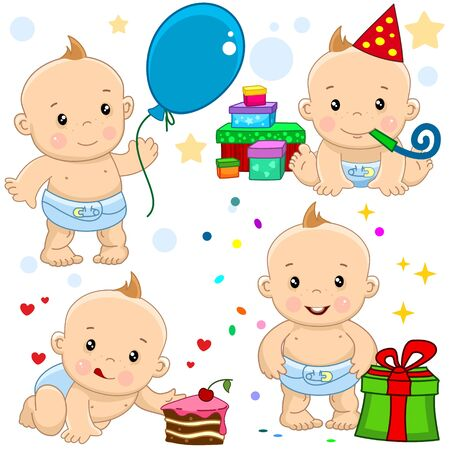Set of icons with kids. The baby has a birthday. He stands with presents, a ball, throws sweets and dances for a piece of cake.