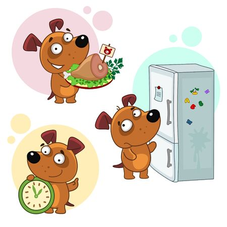 Set of icons with small dogs for design. Puppy and food. The dog opens the refrigerator, stands with a plate with meat ham, holds a clock.