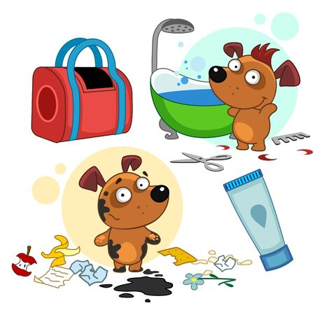 Set of icons with small dogs for design. The puppy is dirty and clean. A dog in the mud with a bunch of garbage and a dog is clean, washed and trimmed in the bathroom. Travel bag and shower gel.