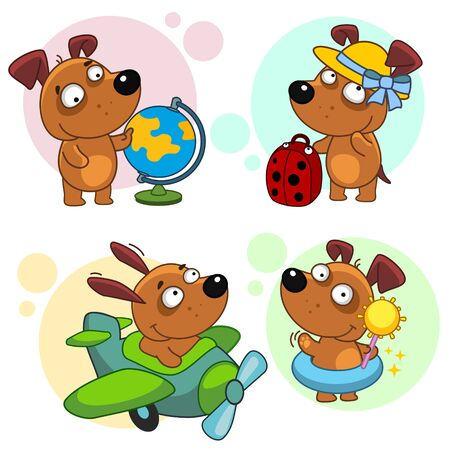 Set of icons with small dogs for design. Puppy and travel. The dog flies on an airplane, stands with a suitcase, holds a globe, with the sun in his hands and a life buoy. Stock Illustratie