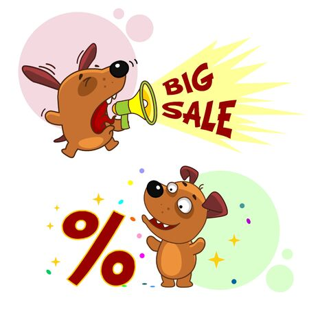 Set of icons with small dogs for design. The puppy shouts in a shout about a big sale and the puppy stands at the percentage icon.