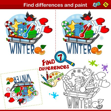 Set for children and schoolchildren. Find the difference in the picture and color it. Winter picture with the image, sled, gift, star, candy, thermometer, mittens and bullfinch. Stock Illustratie