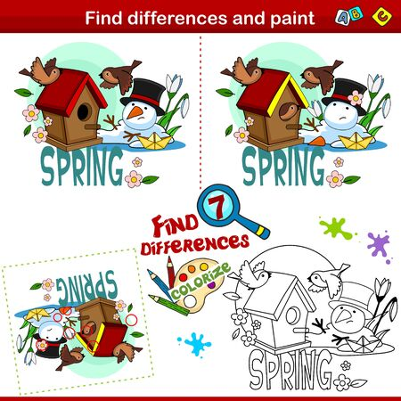 Set for children and schoolchildren. Find the difference in the picture and color it. Spring picture depicting a birdhouse and a flying prince, a melting snowman and a paper boat.