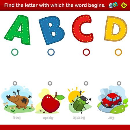 A set of illustrations for children where you need to combine the letter A, B, C and D with the beginning of the words in the pictures with a picture of a dog, an apple, a beetle and a car. Entertainment, training and pastime for preschoolers.