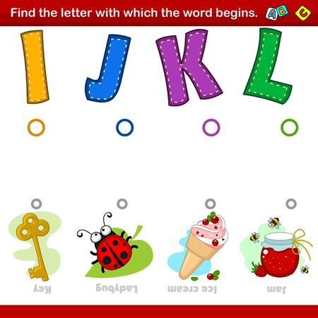 A set of illustrations for children where you need to combine the letter I, J, K and L with the beginning of the words in the pictures with the image of the key, ladybug, ice cream and jam. Entertainment, training and pastime for preschoolers. Ilustração