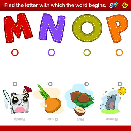 A set of illustrations for children where you need to combine the letter M, N, O and P with the beginning of the words in the pictures with the image of a panda, onion, walnut and mouse. Entertainment, training and pastime for preschoolers.