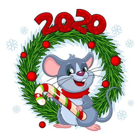 Greeting card for Christmas. Illustration of a merry mouse that holds a candy. Christmas wreath made of spruce with toys and figures 2020 Vectores