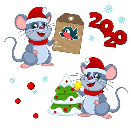 Set of christmas patterns with mouse. We hold a star in its clutches, decorates a Christmas tree and a mouse holds a greeting card.
