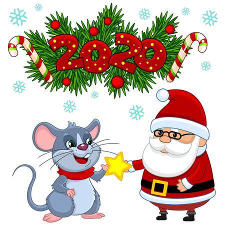 Template for christmas with mouse and santa claus. The inscription of the numbers 2020 on the background of fir branches.