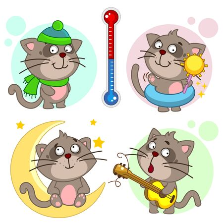 A set of icons with cats for children and design, cats stand at a thermometer in a hat and with the sun, they are cold and hot, the kitten sits on the month and around the star, stands with a guitar in his hands and plays .