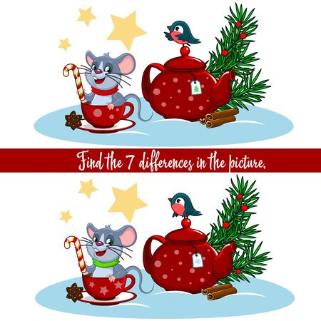 Children's Christmas illustration for children with a spruce, a teapot with a cup and a mouse. Find the differences in the pictures.