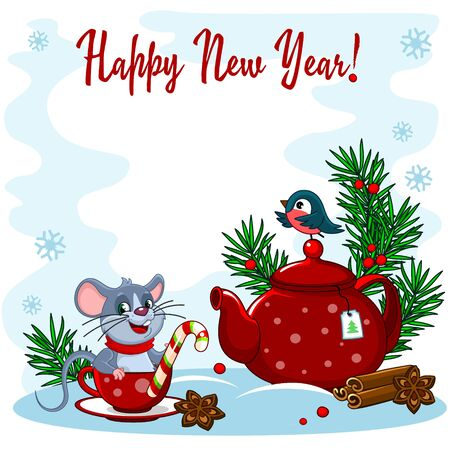 Beautiful New Year greeting card. With the image of a spruce branch, a teapot with a cup, sweets, cinnamon and a mouse. Vectores
