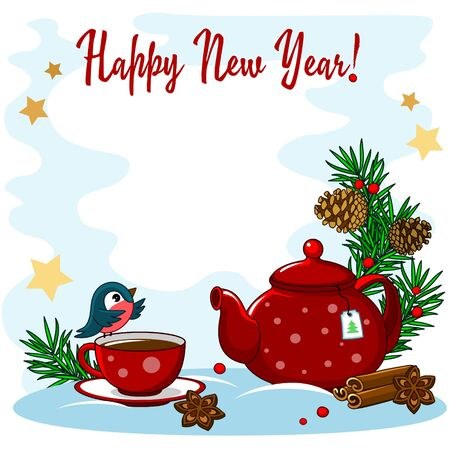 Beautiful New Year greeting card. With the image of a spruce branch, a teapot with a cup, sweets, cinnamon, bullfinch, branches of spruce and cones.