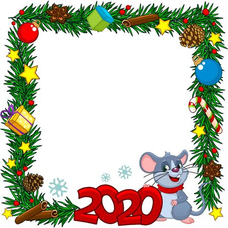 New Year decorations Christmas wreath with mouse and elements of gifts, Christmas toys, a teapot, cup, cones, berries, cinnamon and stars.