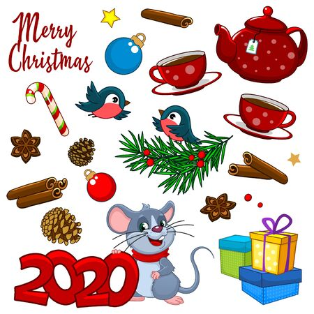 Set of New Year's elements for design of cards, congratulations of banners with a bow, toys and gifts. Vectores