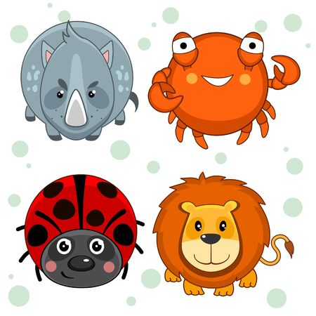 Set of beautiful circles icons from animals for design and kids, rhino, crab, lion and ladybug. Vectores